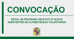 CONVOCAÇÃO – PROCESSO SELETIVO Nº6