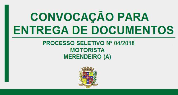 CONVOCAÇÃO PARA MOTORISTA E MERENDEIRO (A)