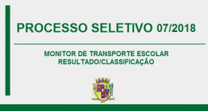 RESULTADO DO PROCESSO SELETIVO N.º 07/2018