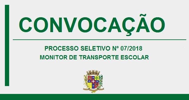 EDITAL DE CONVOCAÇÃO – MONITOR DE TRANSPORTE ESCOLAR