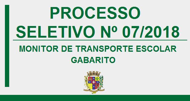 GABARITO – PROCESSO SELETIVO Nº 07/2018