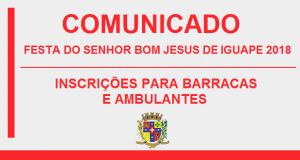 COMUNICADO – FESTA DO SENHOR BOM JESUS DE IGUAPE 2018