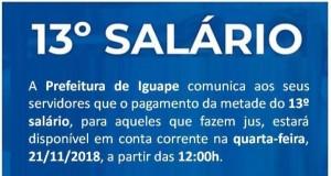 PAGAMENTO DE PARCELA DO 13°