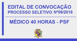 PROCESSO SELETIVO Nº09/2018