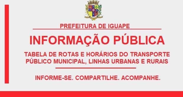 TABELA DO TRANSPORTE PÚBLICO MUNICIPAL