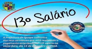 PAGAMENTO ANTECIPADO DO 13º DOS SERVIDORES