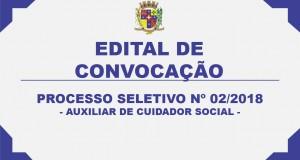 CONVOCAÇÃO DE PROCESSO SELETIVO 02/2018