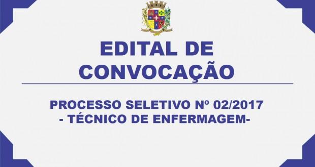 EDITAL DE CONVOCAÇÃO PROCESSO SELETIVO Nº 02/2017