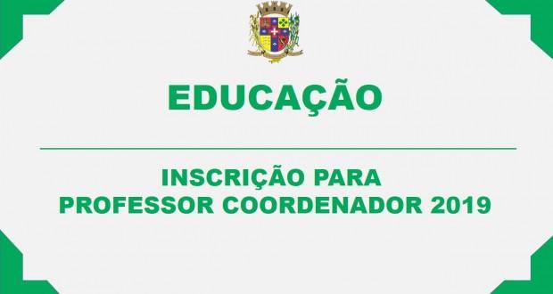 INSCRIÇÃO PARA PROFESSOR COORDENADOR 2019
