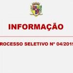 INFORMAÇÃO – PROCESSO SELETIVO Nº 04