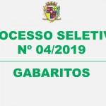 PROCESSO SELETIVO Nº04/2019 – GABARITOS