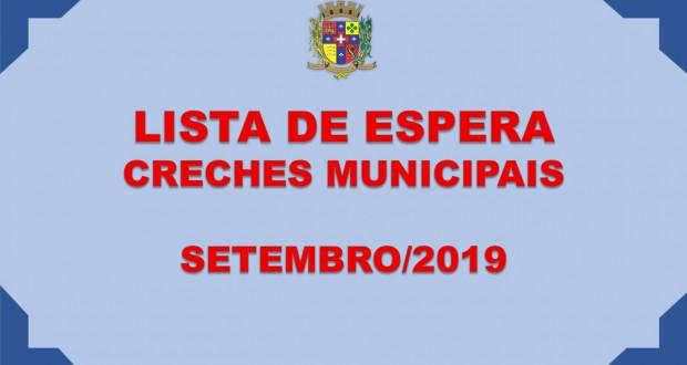LISTA DE ESPERA – CRECHES MUNICIPAIS – SETEMBRO/2019
