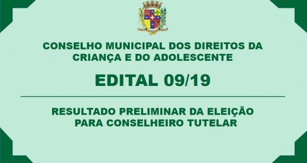 CMDCA – RESULTADO PRELIMINAR DA ELEIÇÃO PARA CONSELHEIRO TUTELAR