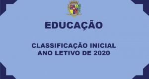 Classificação Inicial – Ano Letivo de 2020