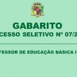 GABARITO – PROCESSO SELETIVO N.º 07/2019