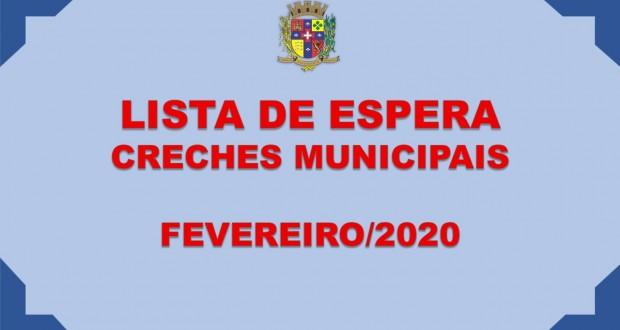 LISTA DE ESPERA – CRECHES MUNICIPAIS FEVEREIRO 2020