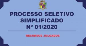 PROCESSO SELETIVO Nº 01/2020 – RECURSOS JULGADOS
